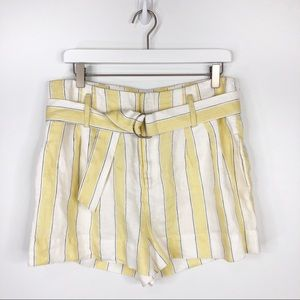 Frame Linen High Waisted Striped Belted Shorts